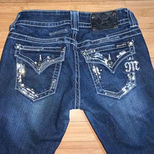 "MISS ME Boot Cut Embellished Jeans Sz 27 x 36.5""L"